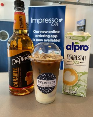 An iced soya latte with caramel   As seen on 🌞 Love Island 🏝   With or without cream 🤩